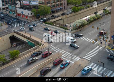 Aerial View Of City Street Intersection, Philadelphia, USA - Stock Photo