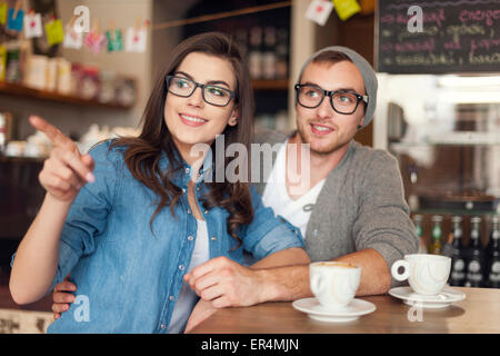 Hipster young couple at cafe. Krakow, Poland - Stock Photo