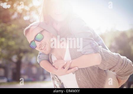 Portrait of happy lovely couple. Krakow, Poland - Stock Photo