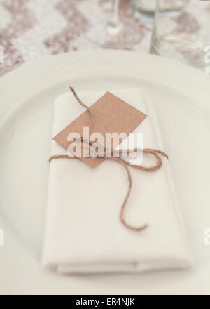 Set dinner plate at a wedding - Stock Photo