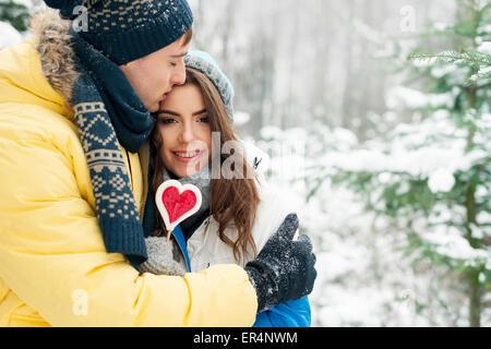 Portrait of young couple in love. Debica, Poland - Stock Photo