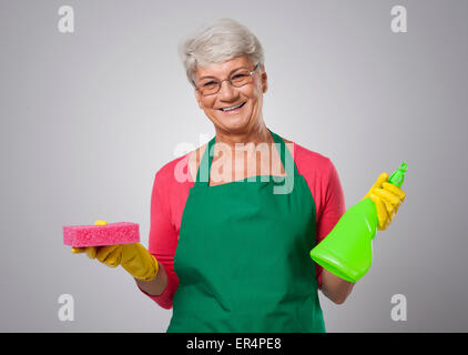 She nearly done with the housework. Debica, Poland - Stock Photo