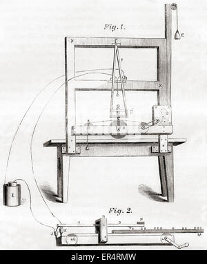 The first electrical telegraph invented by Samuel Morse in 1837. - Stock Photo