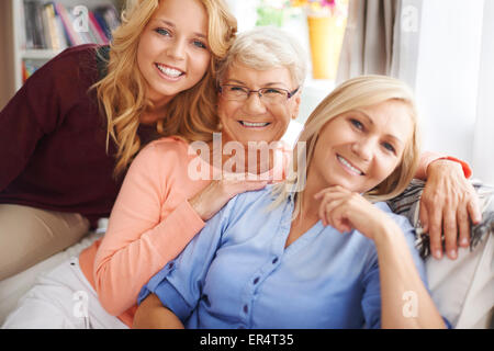 Portrait of a lovely family of women in living room. Debica, Poland - Stock Photo