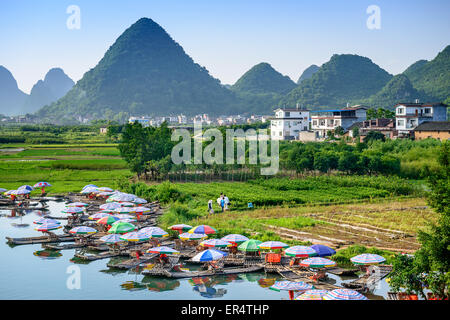 Yangshuo, China on the Li River. - Stock Photo