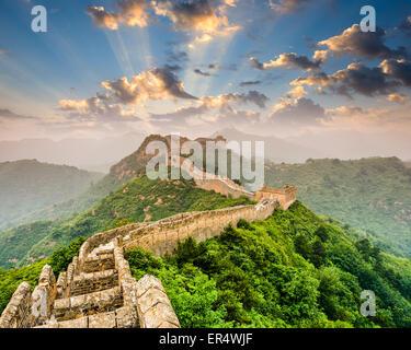 Great Wall of China at the Jinshanling section. - Stock Photo