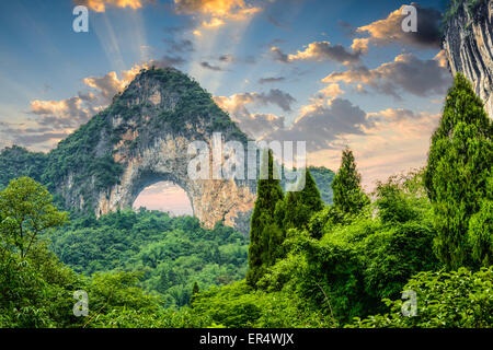 Moon Hill, Yangshuo, China. - Stock Photo