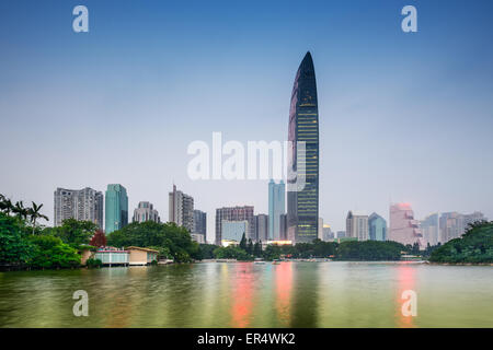 Shenzhen, China downtown skyline from Lychee Park. - Stock Photo