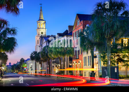 Charleston, South Carolina, USA cityscape at  St. Michael's Episcopal Church. - Stock Photo