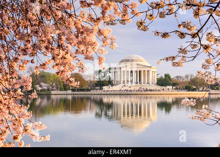 Washington, DC at the Tidal Basin and Jefferson Memorial during spring. - Stock Photo