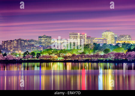Washington, DC at the Tidal Basin with the Arlington skyline. - Stock Photo