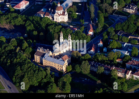 Aerial view of the old town of Vilnius a UNESCO World Heritage Site and capital of Lithuania. - Stock Photo