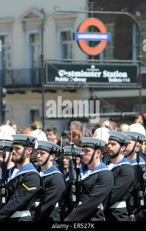 London, UK. 27th May, 2015. State Opening of Parliament. Sailors marching past Westminster underground station in - Stock Photo
