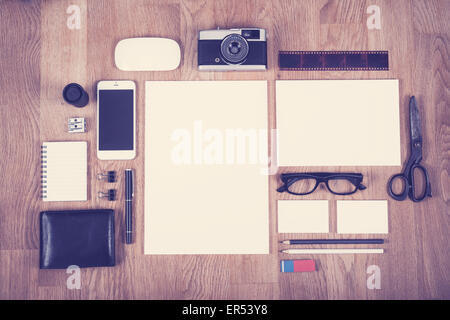 Corporate identity design template in vintage color style showing different old and new items