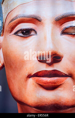 Face of Egyptian queen Nefertiti as depicted on a display outside the Neues Museum in Berlin, Germany. - Stock Photo