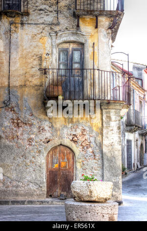 Empty street scene in Savoca, Sicily, made famous by Frances Ford Coppola for scenes in the film the Godfather. - Stock Photo