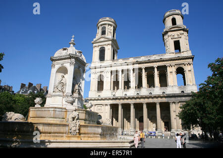 The fountain of the 4 'never' cardinals in Place St Sulpice Paris France - Stock Photo