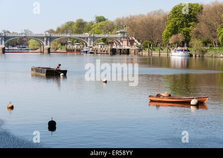 Richmond Lock and Footbridge from Twickenham Bridge, Twickenham, Greater London, England, United  Kingdom - Stock Photo