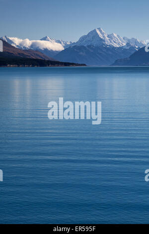 Mt. Cook (Aoraki) as seen from the other side of Lake Pukaki.