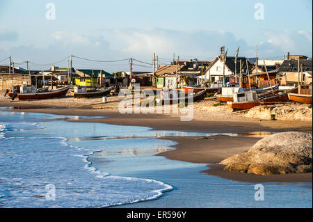 Nets on the Punta del Diablo Beach, popular tourist place and Fisherman's place in the Uruguay Coast - Stock Photo