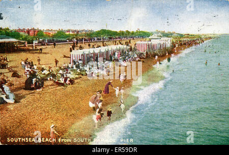 The Beach, Southsea, Portsmouth, Hampshire, England.  1921 - Stock Photo
