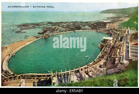 Bathing Pool, Scarborough, Yorkshire , England.  1930s - Stock Photo