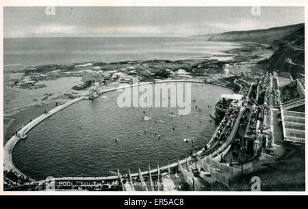 Bathing Pool & South Bay, Scarborough, Yorkshire , England.  1930s - Stock Photo