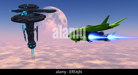 A shuttle from an Earth base makes its way with supplies to a space station in orbit over the planet. - Stock Photo