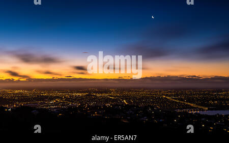 Christchurch, New Zealand, seen from above at night. - Stock Photo