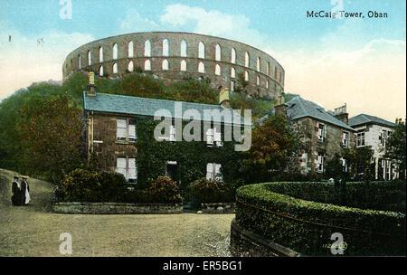 Ardconnel Terrace, Oban, Argyllshire, Scotland. Showing the McCaig Tower  1900s - Stock Photo