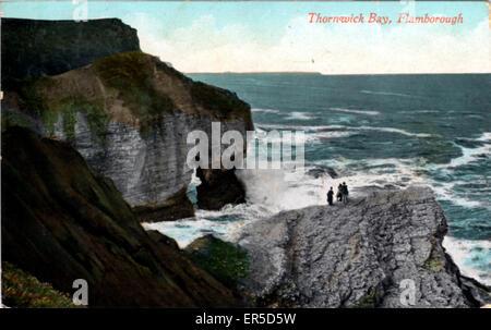 Thornwick Bay, Flamborough, Bridlington, near Filey, Yorkshire, England.  1910s - Stock Photo