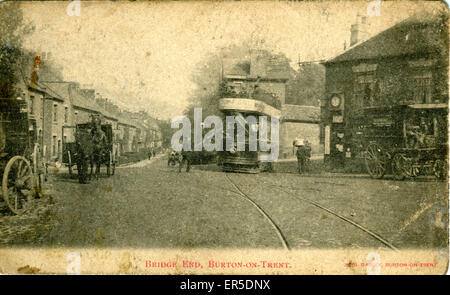 Bridge End, Burton on Trent, Staffordshire, England. Showing Tram & Traps  1900s - Stock Photo