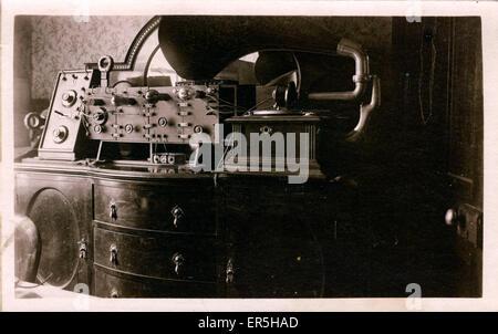 Early Gramophone-Radio Transmitter, .  1910s - Stock Photo
