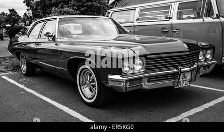 BERLIN - MAY 10, 2015: Full-size car Buick LeSabre (Fourth generation). Black and white. 28th Berlin-Brandenburg - Stock Photo