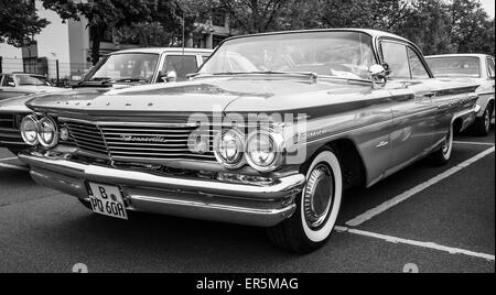 BERLIN - MAY 10, 2015: Full-size car Pontiac Bonneville, 1960.  Black and white. The 28th Berlin-Brandenburg Oldtimer - Stock Photo