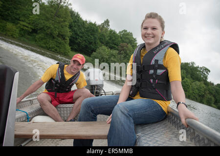 Members of the DLRG practicing rescue situations on a lake, German Life Saving Association, Rainau Buch, Aalen, - Stock Photo