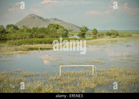 Flooded football field in Virpazar, Lake Skadar National Park, Montenegro, Western Balkan, Europe - Stock Photo