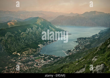 Panoramic view at Kotor and the bay of Kotor, Adriatic coastline, Montenegro, Western Balkan, Europe, UNESCO - Stock Photo