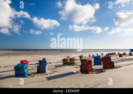Beach chairs on the beach, Langeoog Island, North Sea, East Frisian Islands, East Frisia, Lower Saxony, Germany, - Stock Photo