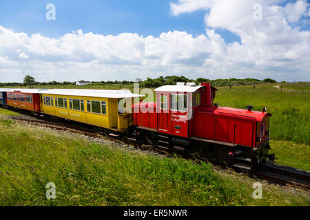 Island train, Langeoog Island, North Sea, East Frisian Islands, East Frisia, Lower Saxony, Germany, Europe - Stock Photo