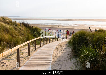 Boardwalk in the dunes to the beach, Langeoog Island, North Sea, East Frisian Islands, East Frisia, Lower Saxony, - Stock Photo
