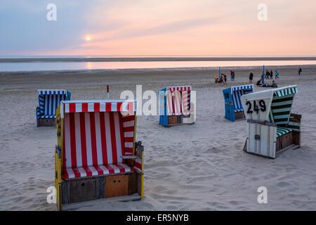 Beach chairs at dusk on the beach, Langeoog Island, North Sea, East Frisian Islands, East Frisia, Lower Saxony, - Stock Photo