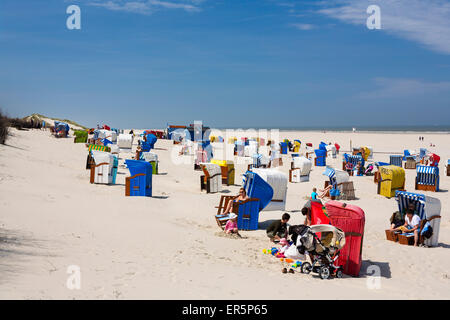 Beach chairs and people on the beach, Juist Island, North Sea, East Frisian Islands, East Frisia, Lower Saxony, - Stock Photo