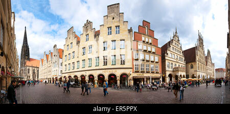 Market square with St Lambert's Church, Prinzipalmarkt, Muenster, North Rhine-Westphalia, Germany - Stock Photo