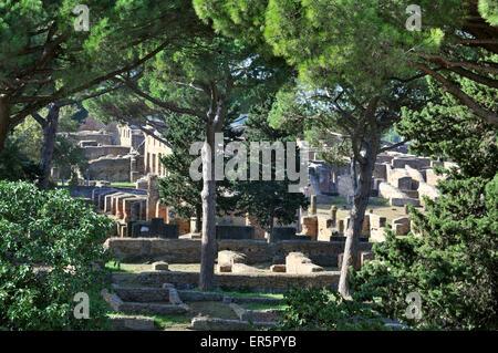 Excavations of Ostia Antica and Terme di Nettuno, Ostia near Rome, Italy - Stock Photo