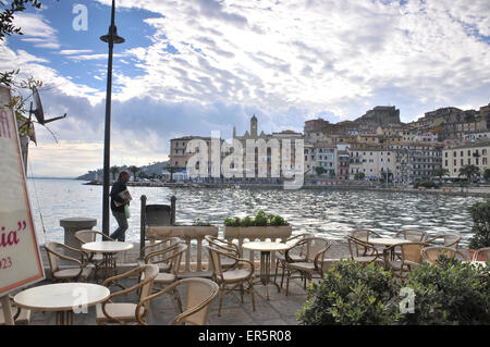 Cafe in the harbour of Porto Santo Stefano at Monte Argentario, South Tuscany, Tuscany, Italy - Stock Photo