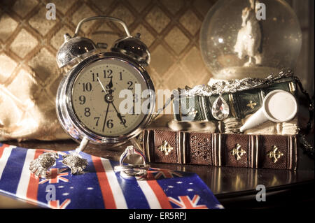 Vintage pocket watch and hour glass or sand timer, symbols of time with copy space - Stock Photo