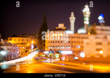 Crossroad at night, Amman, Jordan, Middle East - Stock Photo