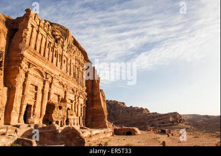 Palace tomb, Royal tombs, Petra, Wadi Musa, Jordan, Middle East - Stock Photo