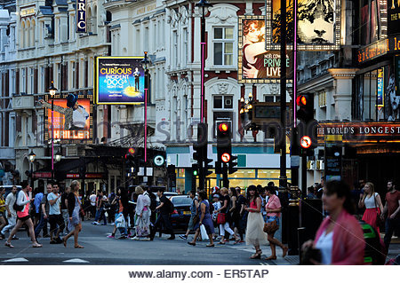 Theatres on Shaftesbury Avenue, Soho quarter, West End, London, England, Great Britain, United Kingdom - Stock Photo